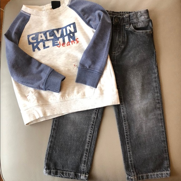 Calvin Klein Pull Over Sweater & Jeans Size 24mos